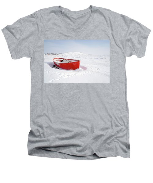 The Red Fishing Boat Men's V-Neck T-Shirt by Nick Mares