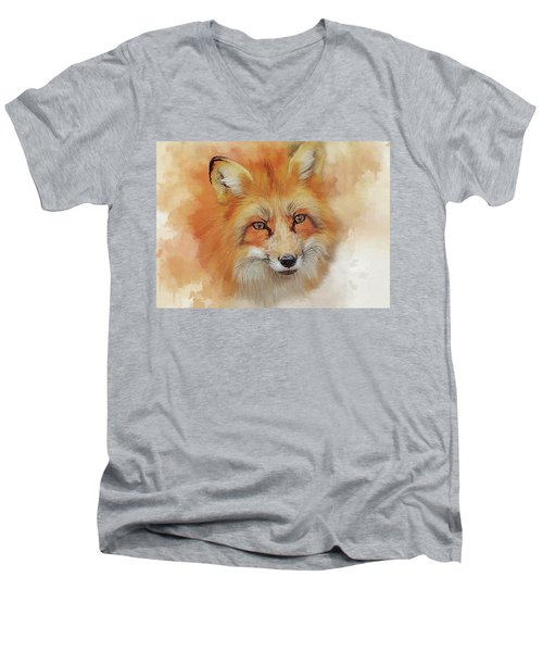 The Red Fox Men's V-Neck T-Shirt by Brian Tarr
