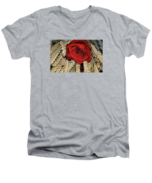Men's V-Neck T-Shirt featuring the photograph The Red Rose On A Bed Of Wheat by Diana Mary Sharpton