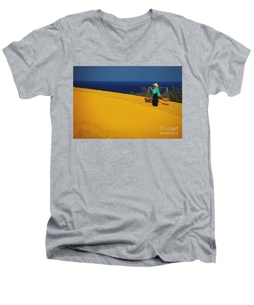 The Red San Dunes Of Mui Ne Vietnam Men's V-Neck T-Shirt