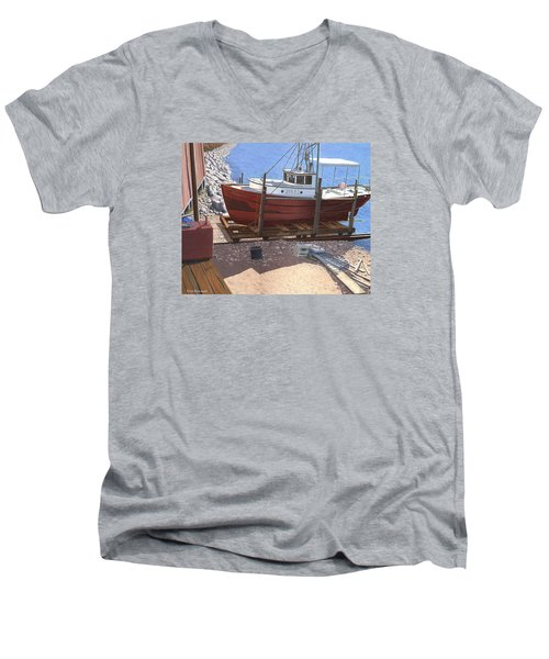 Men's V-Neck T-Shirt featuring the painting The Red Troller by Gary Giacomelli
