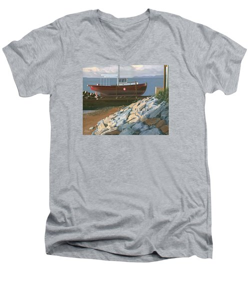 Men's V-Neck T-Shirt featuring the painting The Red Troller Revisited by Gary Giacomelli