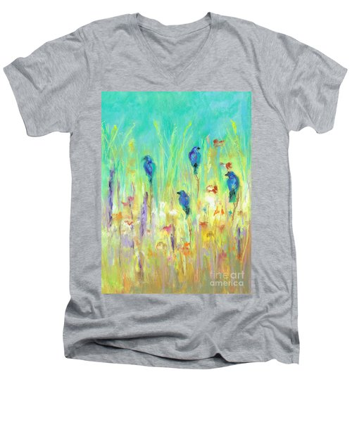 Men's V-Neck T-Shirt featuring the painting The Resting Place by Frances Marino