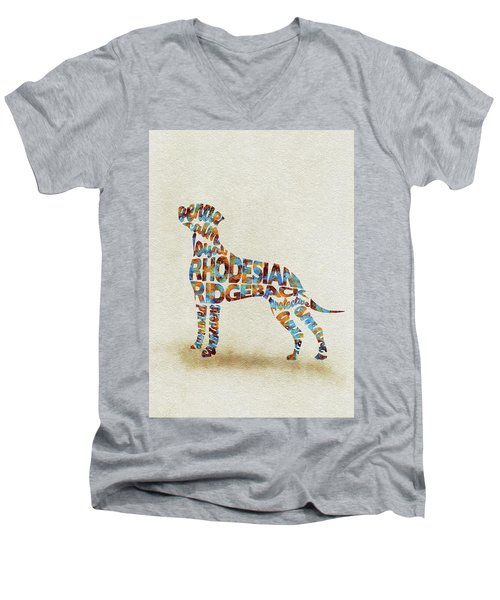 Men's V-Neck T-Shirt featuring the painting The Rhodesian Ridgeback Dog Watercolor Painting / Typographic Art by Ayse and Deniz