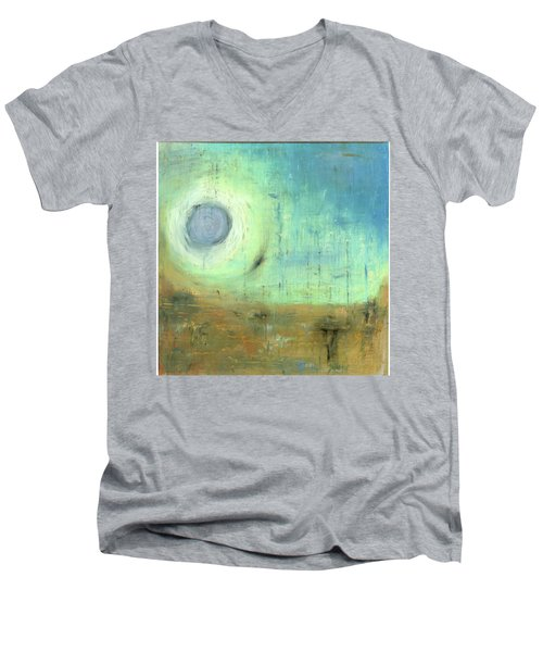 Men's V-Neck T-Shirt featuring the painting The Rising Sun by Michal Mitak Mahgerefteh