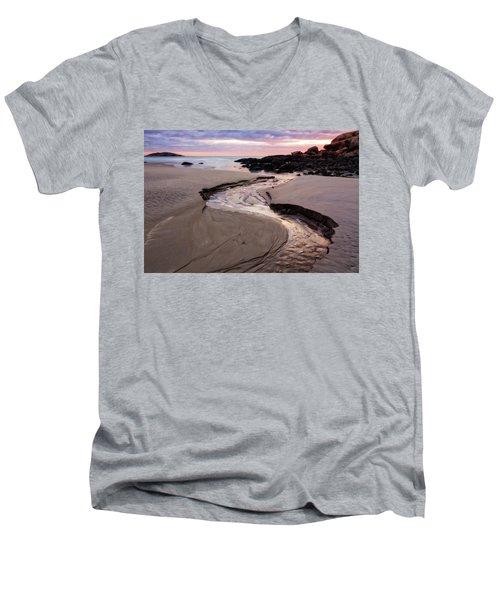 The River Good Harbor Beach Men's V-Neck T-Shirt by Michael Hubley