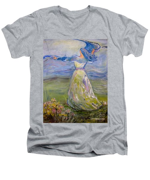 Men's V-Neck T-Shirt featuring the painting The River Is Here by Deborah Nell
