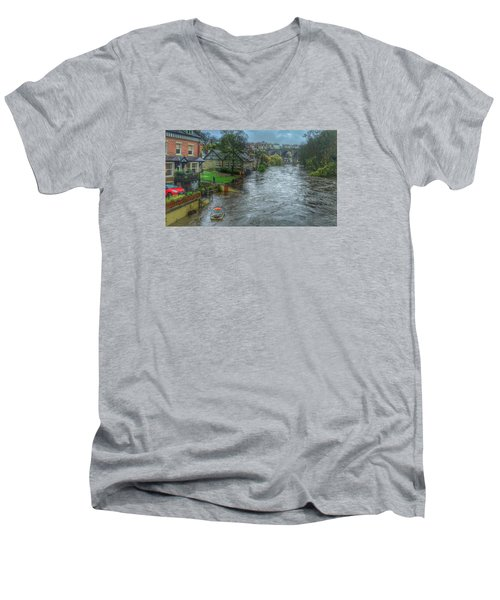 Men's V-Neck T-Shirt featuring the photograph The River Nidd In Flood At Knaresborough by RKAB Works