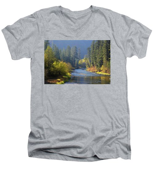 The River Runs Through Autumn Men's V-Neck T-Shirt