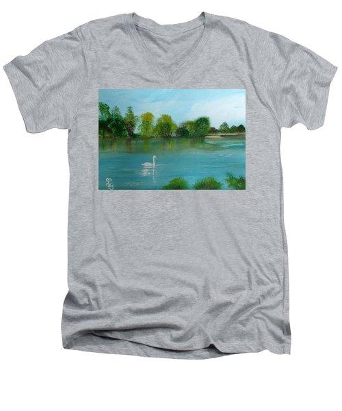 The River Thames At Shepperton Men's V-Neck T-Shirt by Carole Robins