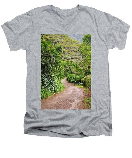 The Road Less Traveled-waipio Valley Hawaii Men's V-Neck T-Shirt