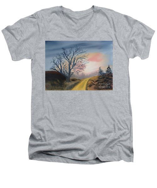 Men's V-Neck T-Shirt featuring the painting The Road To... by Rod Jellison
