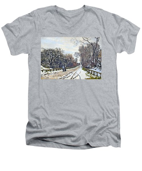 The Road To The Farm Of St. Simeon Men's V-Neck T-Shirt by Monet