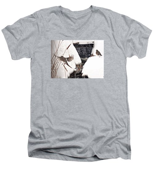 Men's V-Neck T-Shirt featuring the photograph The Robin Plunge by Trina Ansel