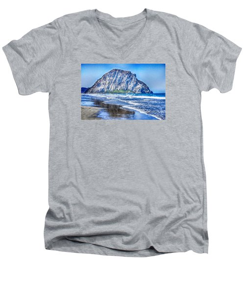 The Rock At Morro Bay Large Canvas Art, Canvas Print, Large Art, Large Wall Decor, Home Decor, Photo Men's V-Neck T-Shirt by David Millenheft