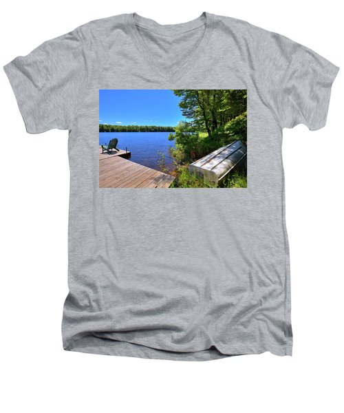 Men's V-Neck T-Shirt featuring the photograph The Rowboat On West Lake by David Patterson