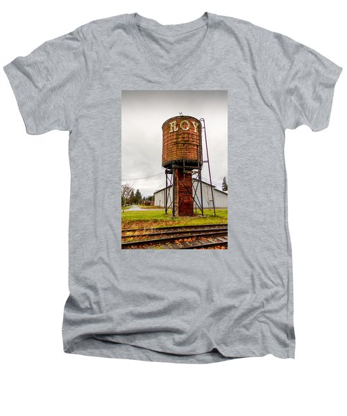 Men's V-Neck T-Shirt featuring the photograph The Roy Water Tower by Rob Green