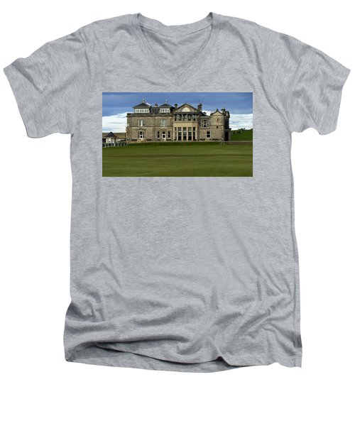 The Royal And Ancient St. Andrews Scotland Men's V-Neck T-Shirt by Sally Ross