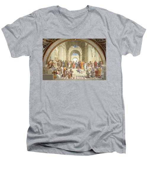 The School Of Athens, Raphael Men's V-Neck T-Shirt by Science Source