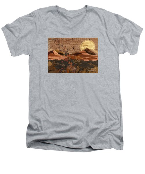 Men's V-Neck T-Shirt featuring the painting The Scream Of A Butterfly by Stanza Widen