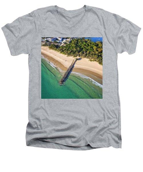 The Sea Wall Near Noosa Main Beach Men's V-Neck T-Shirt