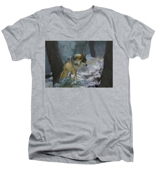 The Searching Wolf Men's V-Neck T-Shirt