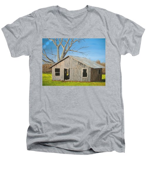 Men's V-Neck T-Shirt featuring the painting The Shack by Norm Starks