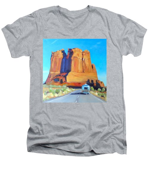 The Shadow Of The Three Gossips Arches Utah Men's V-Neck T-Shirt