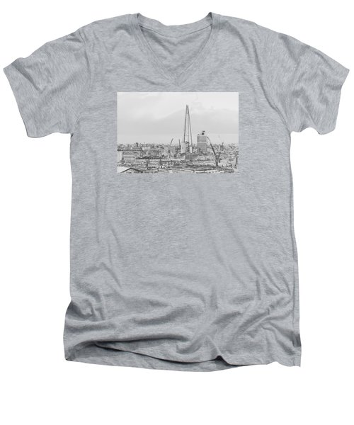 The Shard Outline Poster Bw Men's V-Neck T-Shirt