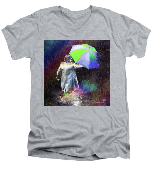 The Sheer Joy Of Puddles Men's V-Neck T-Shirt