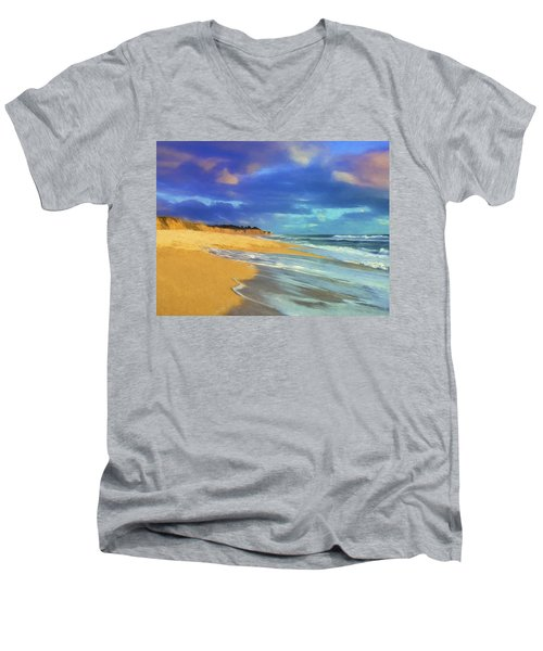 The Shoreline At Half Moon Bay Men's V-Neck T-Shirt