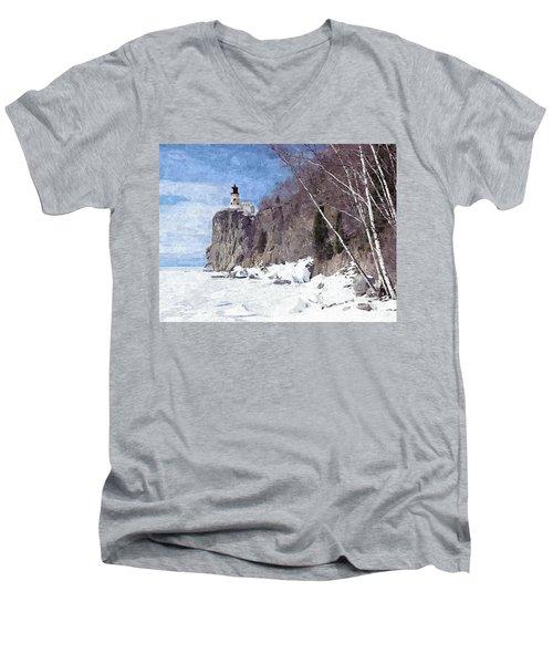 The Shoreline Lighthouse Men's V-Neck T-Shirt by Maciek Froncisz