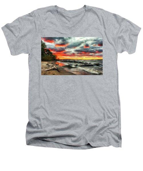 The Sky On Fire At Sunset On Lake Erie Men's V-Neck T-Shirt
