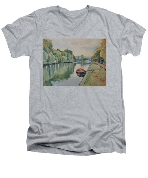 The Small Boat Along The Quai Of Halage Vise Men's V-Neck T-Shirt