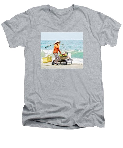 Men's V-Neck T-Shirt featuring the digital art The Smiling Vendor by Cameron Wood