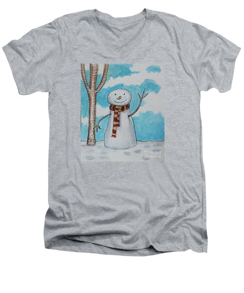 Men's V-Neck T-Shirt featuring the painting The Snowman Smile by Elizabeth Robinette Tyndall