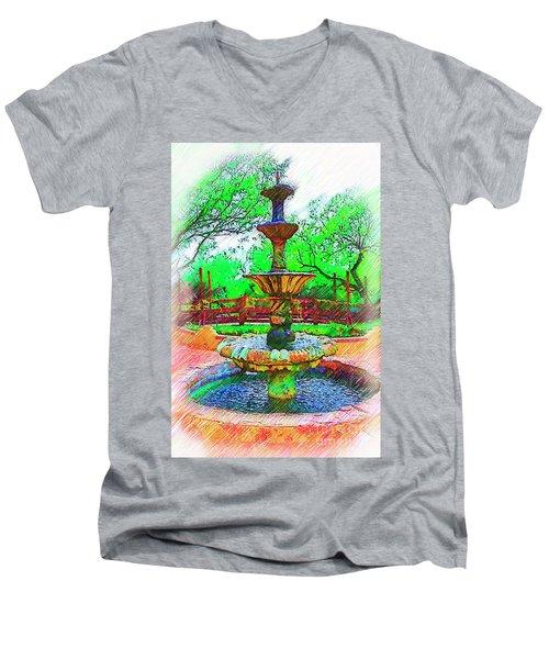 The Spanish Courtyard Fountain Men's V-Neck T-Shirt by Kirt Tisdale