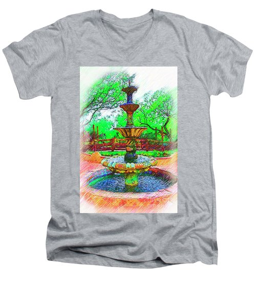 The Spanish Courtyard Fountain Men's V-Neck T-Shirt