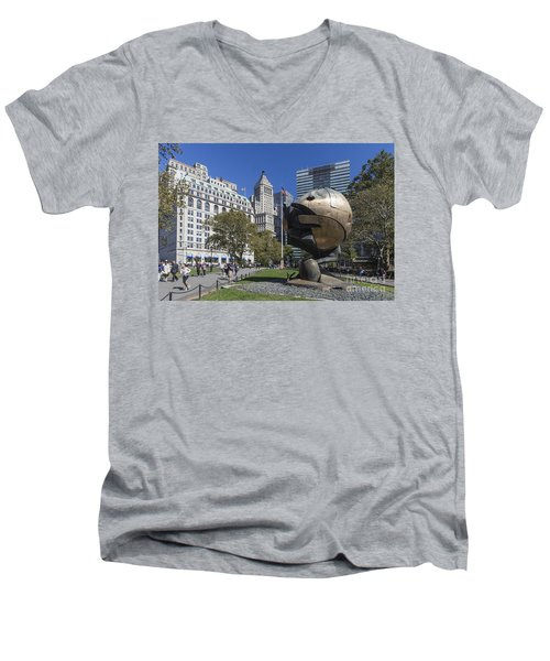 Men's V-Neck T-Shirt featuring the photograph The Sphere Batterie Park Nyc by Juergen Held