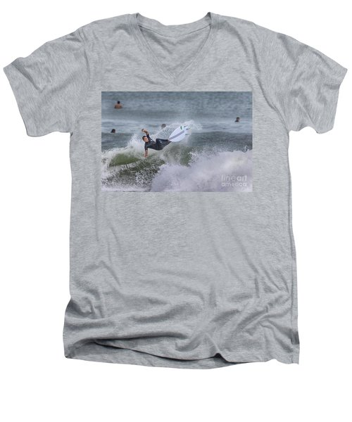 Men's V-Neck T-Shirt featuring the photograph The Spray by Deborah Benoit