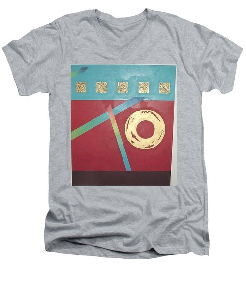 Men's V-Neck T-Shirt featuring the painting The Square Wheels Of Progress by Bernard Goodman