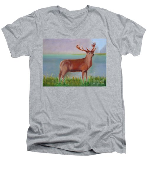 Men's V-Neck T-Shirt featuring the painting The Stag by Rod Jellison