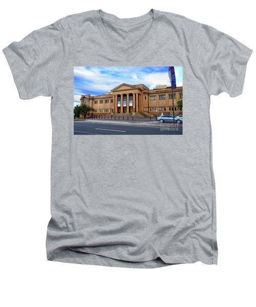 Men's V-Neck T-Shirt featuring the photograph The State Library Of New South Wales By Kaye Menner by Kaye Menner