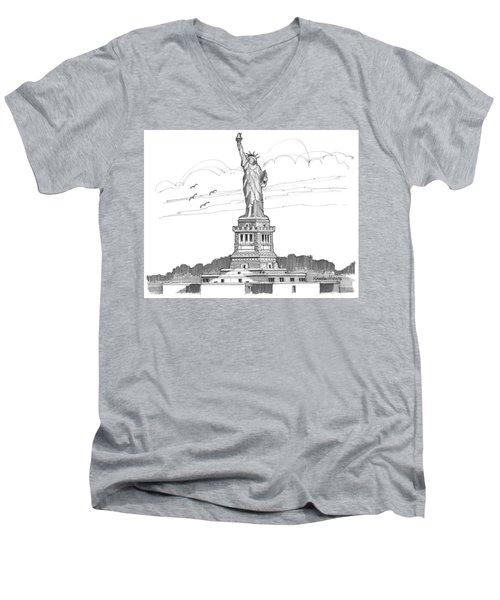 The Statue Of Liberty Lighthouse Men's V-Neck T-Shirt