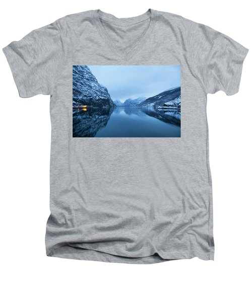Men's V-Neck T-Shirt featuring the photograph The Stillness Of The Sea by David Chandler