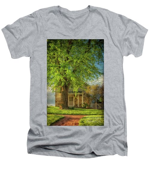 Men's V-Neck T-Shirt featuring the photograph The Stone Cottage On A Spring Evening by Lois Bryan