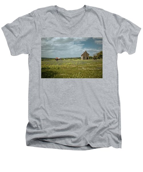 Men's V-Neck T-Shirt featuring the photograph The Stone House by Linda Unger
