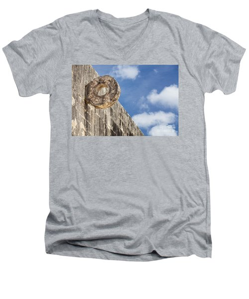 The Stone Ring At The Great Mayan Ball Court Of Chichen Itza Men's V-Neck T-Shirt