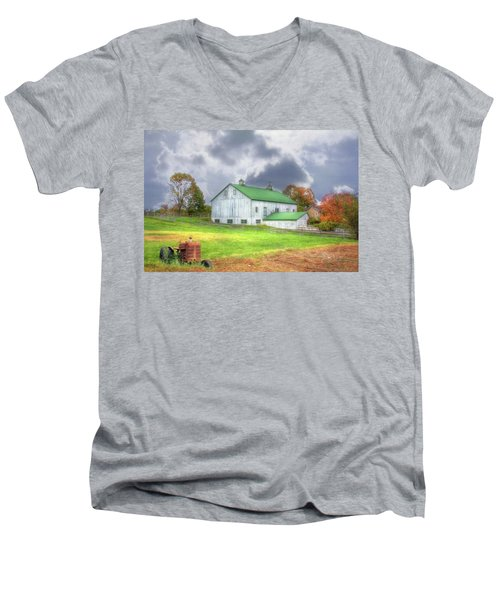 Men's V-Neck T-Shirt featuring the digital art The Storms Coming by Sharon Batdorf