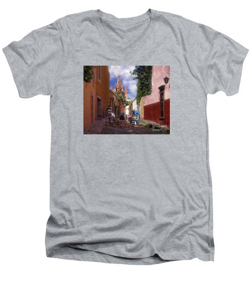 Men's V-Neck T-Shirt featuring the photograph The Street Workers by John  Kolenberg